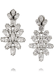 Navette silver-plated crystal clip earrings