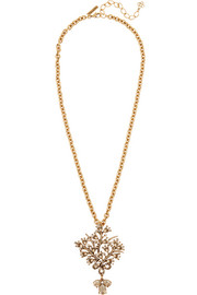 Convertible gold-plated crystal necklace