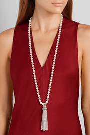 Tasseled silver-plated, faux pearl and crystal necklace