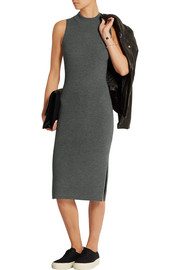 Alanna ribbed stretch wool-blend midi dress