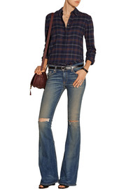 Bell distressed mid-rise flared jeans