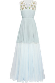 DELPOZO Embellished silk-blend tulle and organza gown