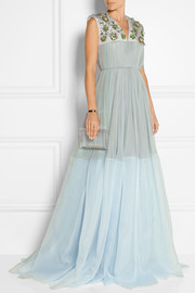 Embellished silk-blend tulle and organza gown