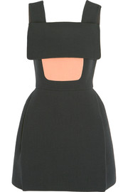 Paneled wool-blend crepe mini dress