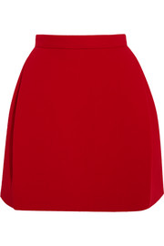 Wool-blend crepe mini skirt
