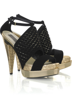 Stella McCartney | Fishscale double platform sandals | NET-A-PORTER.COM from net-a-porter.com