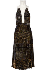 Swan fluted metallic devoré-georgette dress