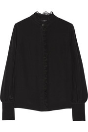 Knox lace-trimmed silk crepe de chine shirt