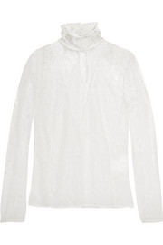 Cristal Chantilly lace turtleneck blouse
