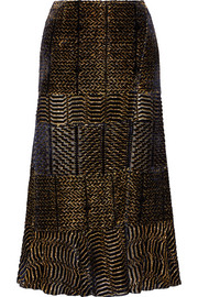 Faulk fluted metallic devoré-georgette skirt