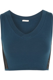Stretch-Pima cotton and tulle bra top