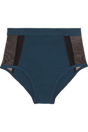 Stretch-Pima cotton and stretch-tulle briefs