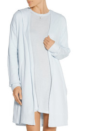 Hooded waffle-knit cotton robe
