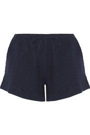 Cotton-gauze pajama shorts