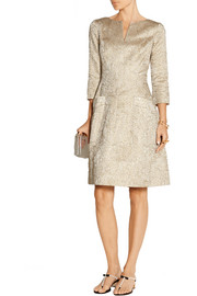 Oscar de la Renta Metallic jacquard dress