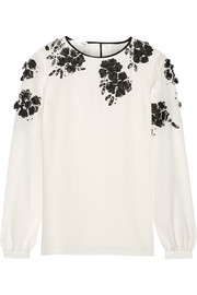 Lace-appliquéd silk-organza top