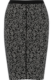 Knitted wool-blend pencil skirt