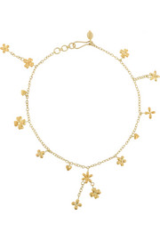 18-karat gold flower anklet