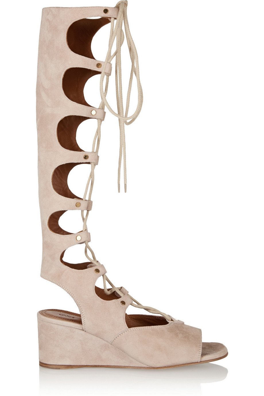 Chloé Lace-Up Suede Wedge Sandals, Size: 38.5
