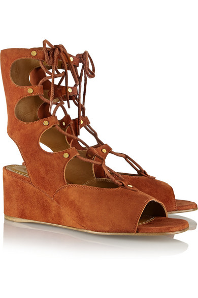 cfd5cce01cc Chloé. Lace-up suede wedge sandals.  645. Zoom In