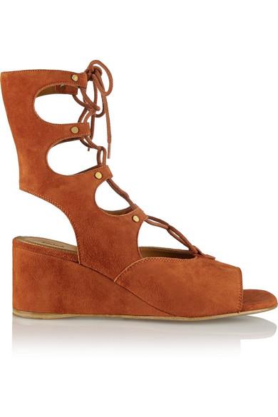 6d81fff0c24 Chloé. Lace-up suede wedge sandals