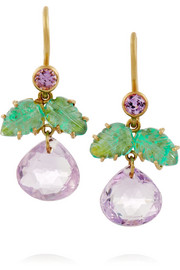Plum 22-karat gold multi-stone earrings