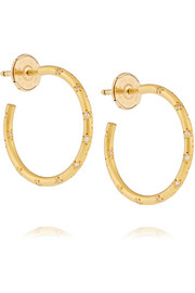 22-karat gold diamond hoop earrings