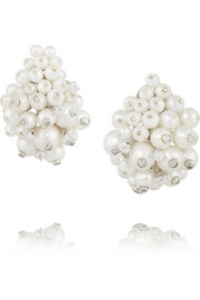Fred Leighton 1960s 18-karat white gold, platinum, diamond and pearl clip earrings
