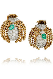 Fred Leighton 1940s 18-karat gold, emerald and diamond earrings