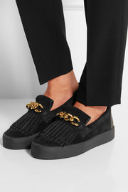 Chain-embellished suede loafers
