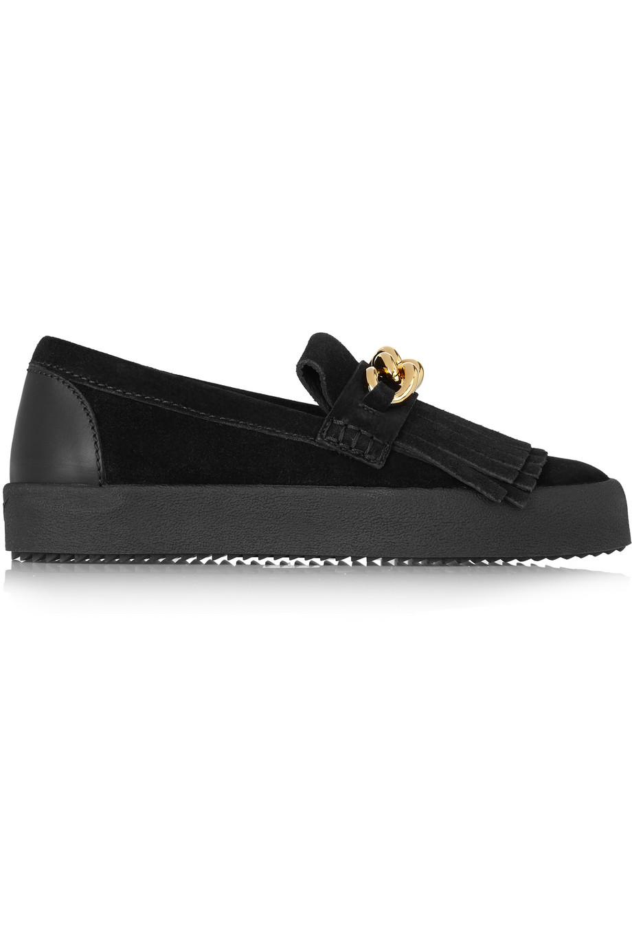 Giuseppe Zanotti Chain-Embellished Suede Loafers, Black, Women's US Size: 5.5, Size: 36