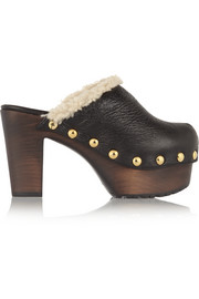 Shearling-lined textured-leather clogs