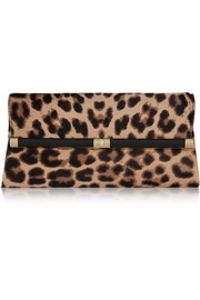 440 Envelope leopard-print calf hair clutch