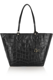 Voyage large croc-effect leather tote