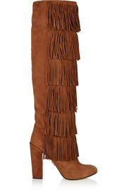 Tara fringed suede knee boots