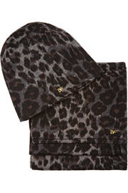 Leopard-print wool-blend hat and scarf set
