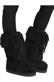 Boho Karlie fringed shearling-lined suede boots