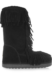 Aquazzura Boho Karlie fringed shearling-lined suede boots