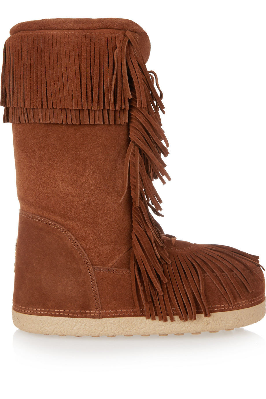 Aquazzura Boho Karlie Shearling-Lined Fringed Suede Boots, Tan, Women's