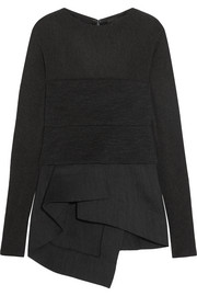 Stretch-jersey and wool-blend crepe peplum top