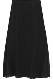 Donna Karan New York Chiffon-paneled wool-blend skirt