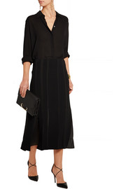 Chiffon-paneled wool-blend skirt