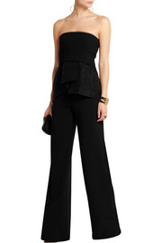 Wool-blend crepe and matelassé satin peplum top