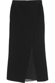 Silk organza-paneled slub stretch-jersey midi skirt