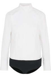 Donna Karan New York Cotton-poplin and stretch-jersey turtleneck bodysuit