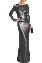 Cutout sequined stretch-jersey gown