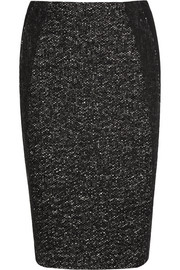Tweed and jersey pencil skirt
