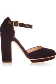 Ravenna leather-trimmed velvet platform pumps