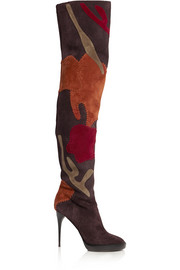 Appliquéd suede over-the-knee boots