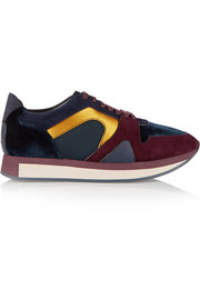 Burberry London London suede, satin and mesh sneakers